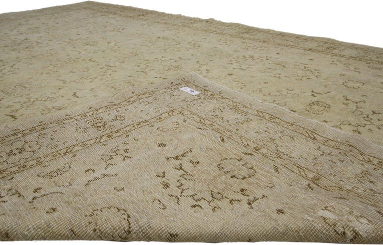 20th Century Distressed Turkish Sivas Rug with Shabby Chic Shaker-Gustavian Farmhouse Style For Sale