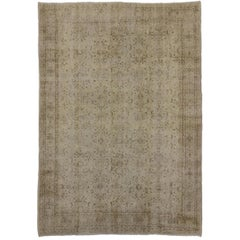 Distressed Turkish Sivas Rug with Shabby Chic Shaker-Gustavian Farmhouse Style