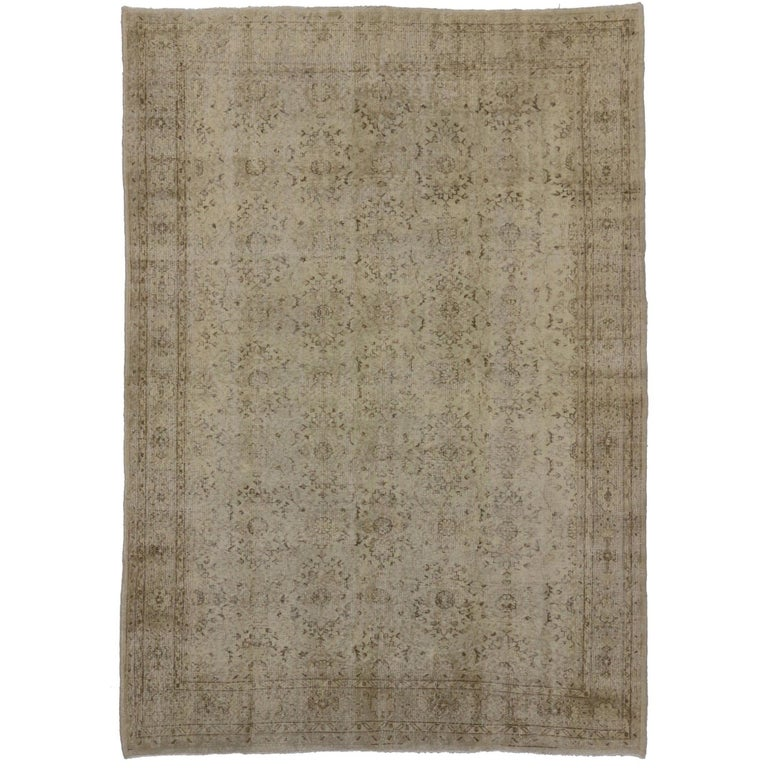 Distressed Turkish Sivas Rug with Shabby Chic Shaker-Gustavian Farmhouse Style For Sale