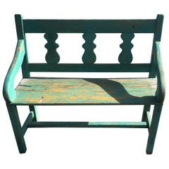 Distressed Turquoise Antique Santa Fe Bench