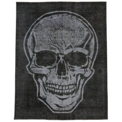 Distressed Vintage Black Overdyed Rug with Skull