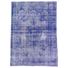Distressed Vintage Blue Overdyed Persian Rug with Modern Style