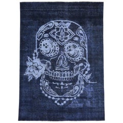 Distressed Vintage Blue Sugar Skull Rug Inspired by Alexander McQueen