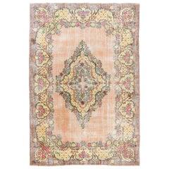 Distressed Vintage Floral Ghiordes Rug, 7.4x11 Ft Traditional Handmade Carpet