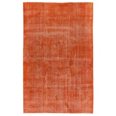 6.3x9.6 Ft Distressed Vintage Handmade Anatolian Rug Over-Dyed in Orange Color