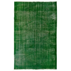 5.8x8.6 Ft Distressed Vintage Handmade Turkish Area Rug Over-Dyed in Green Color