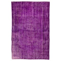 6x9 Ft Distressed Vintage Handmade Turkish Area Rug Re-Dyed in Purple Color