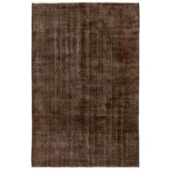 7.2x10.2 Ft Distressed Vintage Handmade Anatolian Rug Over-Dyed in Brown Color