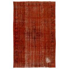 7.6x11.4 Ft Distressed Vintage Handmade Turkish Rug Over-Dyed in Orange Color
