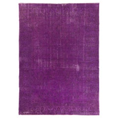 8.2x11.5 Ft Distressed Vintage Handmade Turkish Rug Over-Dyed in Purple Color