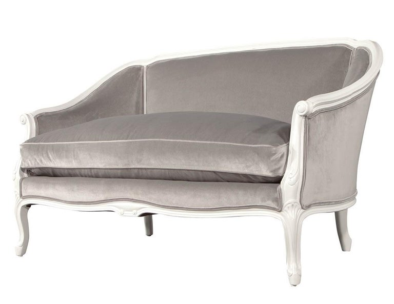 Distressed Vintage Louis XV Style Settee Sofa For Sale 3