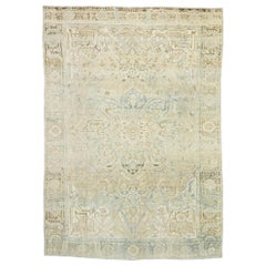 Distressed Vintage Persian Heriz Design Rug with Rustic English Manor Style