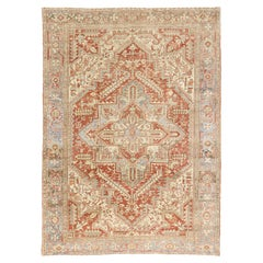 Distressed Vintage Persian Heriz Rug with Rustic Bungalow Style