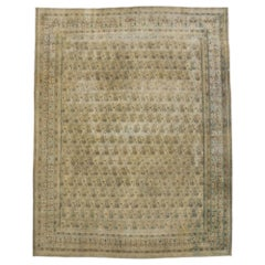 Distressed Vintage Persian Kerman Rug with Rustic Cotswold Countryside Style