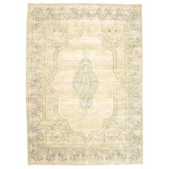 Distressed Vintage Persian Kerman Rug with Swedish Gustavian Cottage Style