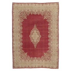 Distressed Vintage Persian Kirman Area Rug with French Victorian Style