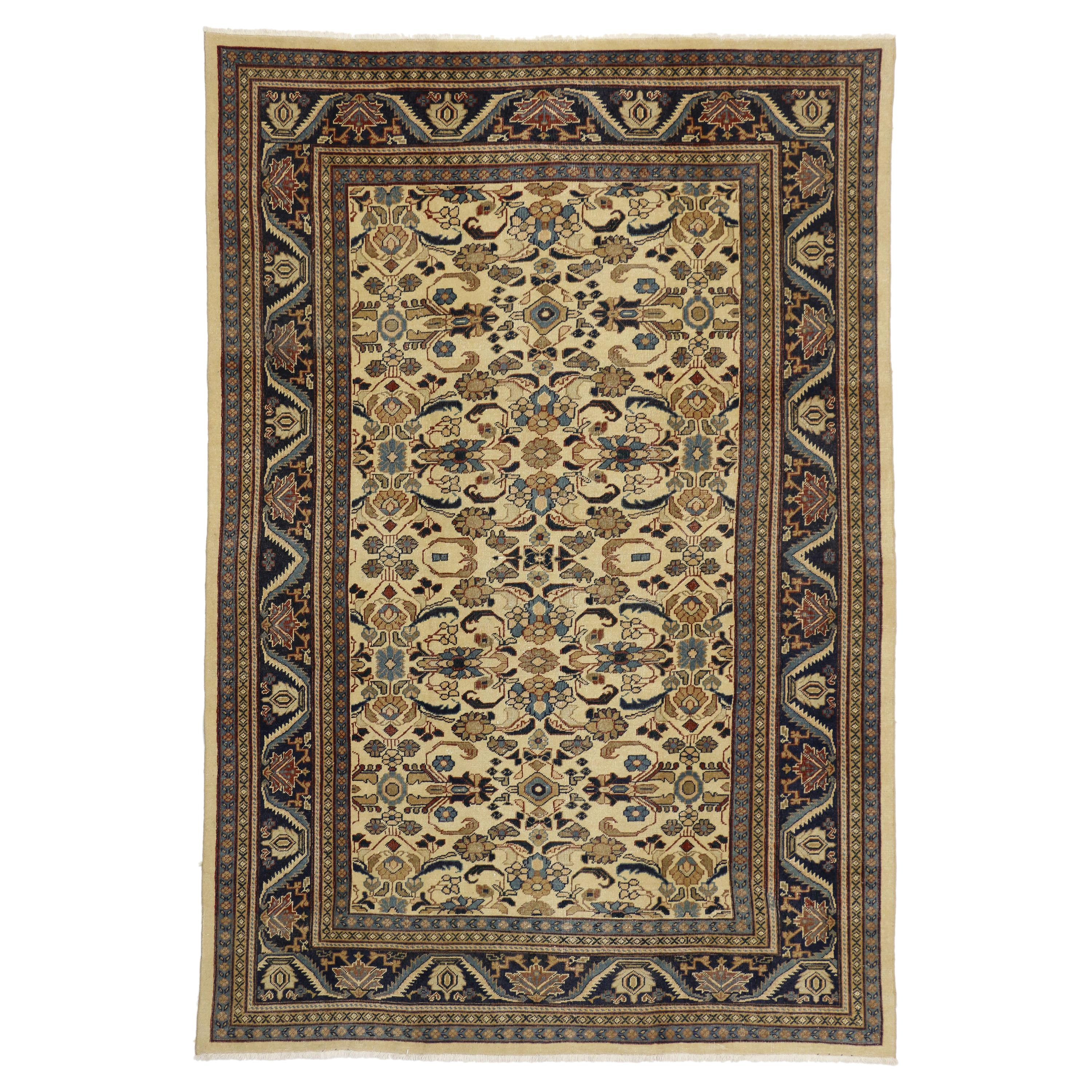 Distressed Vintage Persian Mahal Area Rug with Rustic Artisan Style