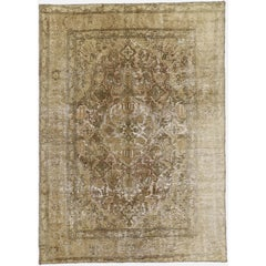 Distressed Vintage Persian Overdyed Rug with Rustic French Industrial Style