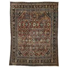 Distressed Vintage Persian Mahal Rug with Modern Rustic English Cottage Style