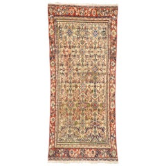Distressed Vintage Persian Mahal Runner, Rustic Hallway Runner