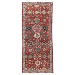 Distressed Vintage Persian Mahal Runner, Wide Hallway Runner