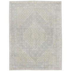 Distressed Vintage Persian Mahi Tabriz Rug with English Country Cottage Style