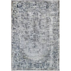 Distressed Antique Persian Rug with Modern Design in Shades of Ivory and Blue