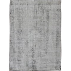 Distressed Vintage Persian Rug with Modern Design in Various Shades of Grey