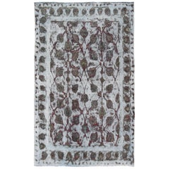 Distressed Vintage Persian Rug with Repeating Vines Pattern Over-Dyed