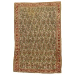 Distressed Vintage Persian Senneh Rug with Rustic Arts & Crafts Style