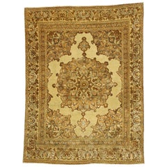 Distressed Vintage Persian Tabriz Accent Rug with Rustic Tuscan Style