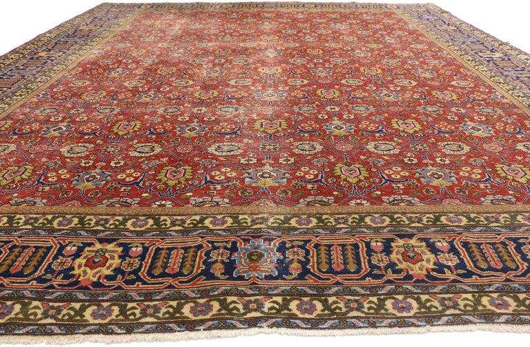 Hand-Knotted Distressed Vintage Persian Tabriz Area Rug with Relaxed Federal Style For Sale