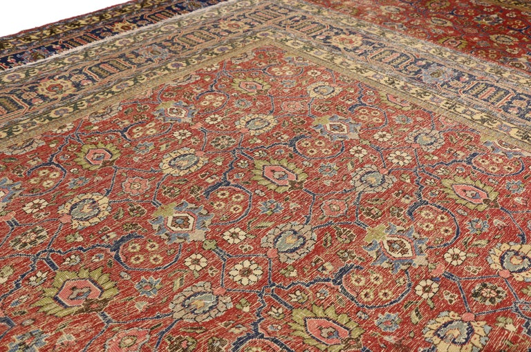 Distressed Vintage Persian Tabriz Area Rug with Relaxed Federal Style In Distressed Condition For Sale In Dallas, TX