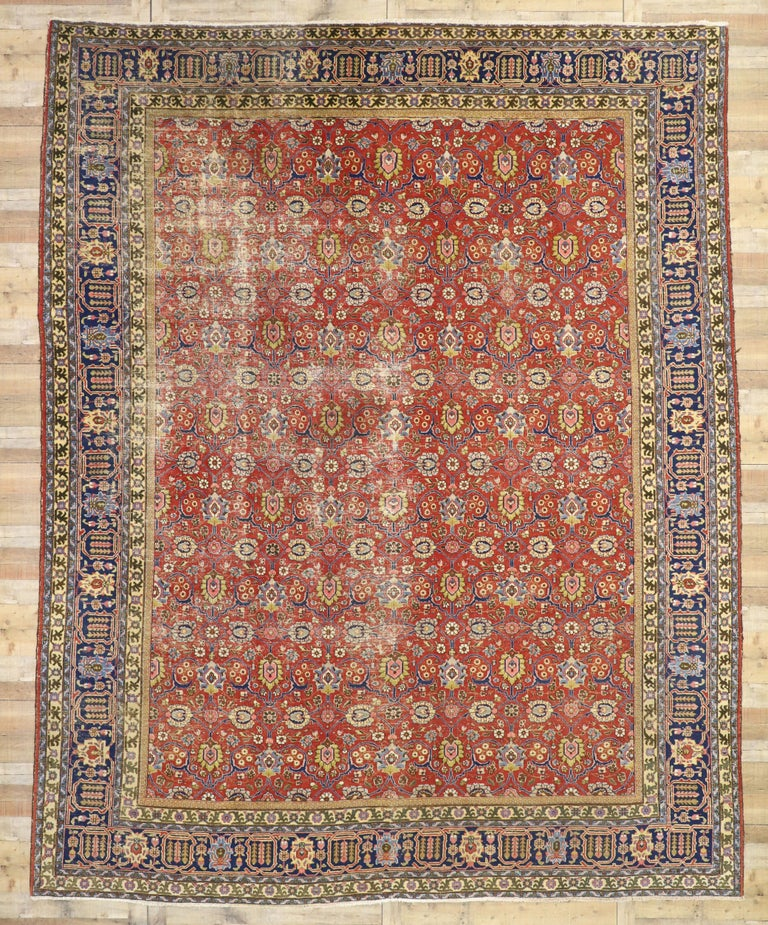 Distressed Vintage Persian Tabriz Area Rug with Relaxed Federal Style For Sale 1