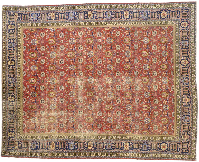 Distressed Vintage Persian Tabriz Area Rug with Relaxed Federal Style For Sale 2