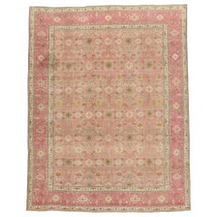 Distressed Vintage Persian Tabriz Rug with Romantic Boho Chic Style