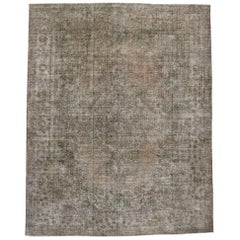 Distressed Vintage Persian Tabriz Rug with Rustic Farmhouse Chippendale Style