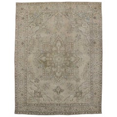 Distressed Vintage Persian Tabriz Rug with Modern Luxe French Industrial Style