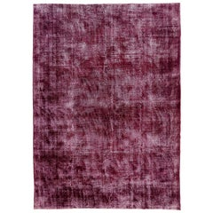 Distressed Vintage Rug Overdyed in Burgundy Red and White