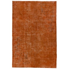 6x9 Ft Distressed Vintage Rug Overdyed in Burnt Orange, Woolen Floor Covering