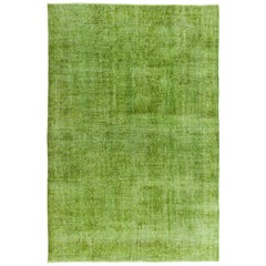 Distressed Vintage Rug Overdyed in Green Color, Woolen Floor Covering