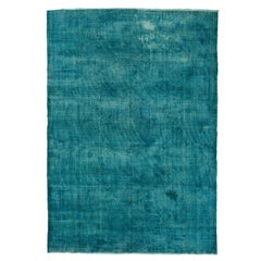 10x14 Ft Vintage Handmade Distressed Rug with Solid Design Over-dyed in Teal
