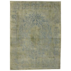 Distressed Vintage Turkish Area Rug with Industrial Rustic French Country Style