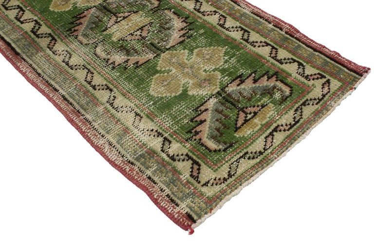 Hand-Knotted Distressed Vintage Turkish Green Oushak Runner, Narrow Hallway Runner For Sale