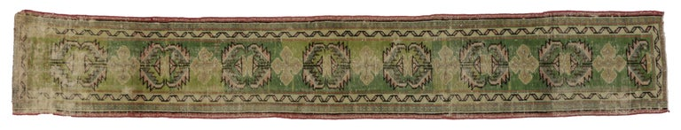 Distressed Vintage Turkish Green Oushak Runner, Narrow Hallway Runner In Distressed Condition For Sale In Dallas, TX