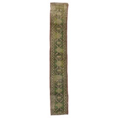 Distressed Vintage Turkish Green Oushak Runner, Narrow Hallway Runner