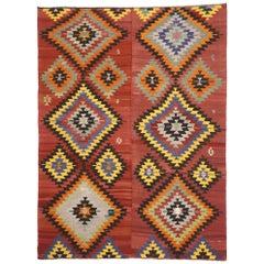 Distressed Vintage Turkish Kilim Area Rug with Aztec Southwest Navajo Style