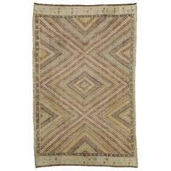Distressed Vintage Turkish Kilim Rug with Southern Living British Colonial Style