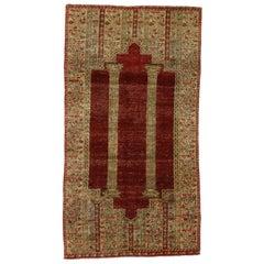 Distressed Vintage Turkish Ottoman Prayer Rug with Triple Arch Niche Design
