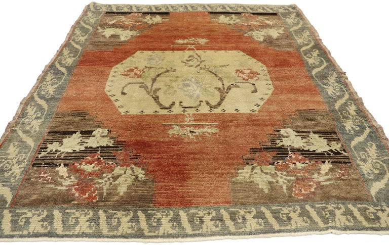 Hand-Knotted Distressed Vintage Turkish Oushak Accent Rug with Rustic Farmhouse Style